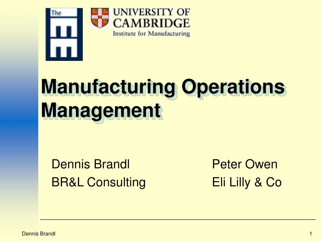 manufacturing operations management l.