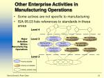 other enterprise activities in manufacturing operations