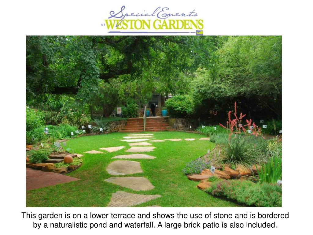 This garden is on a lower terrace and shows the use of stone and is bordered by a naturalistic pond and waterfall. A large brick patio is also included.