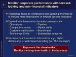monitor corporate performance with forward looking and non financial indicators