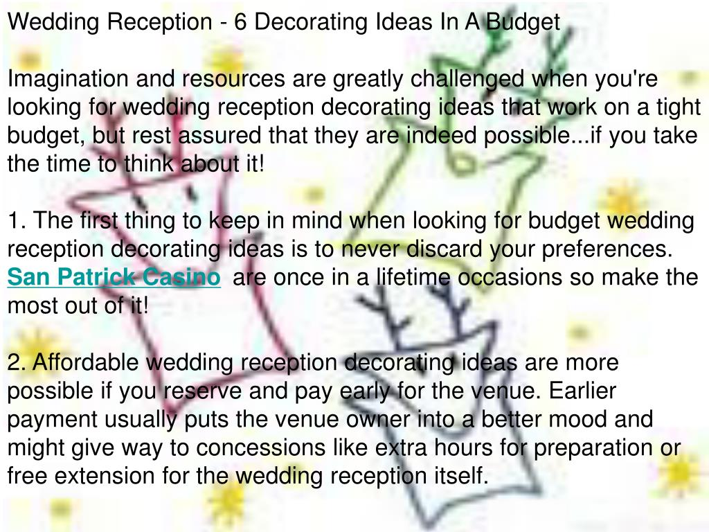Wedding Reception - 6 Decorating Ideas In A Budget