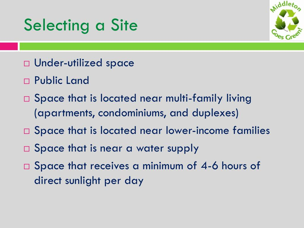 Selecting a Site
