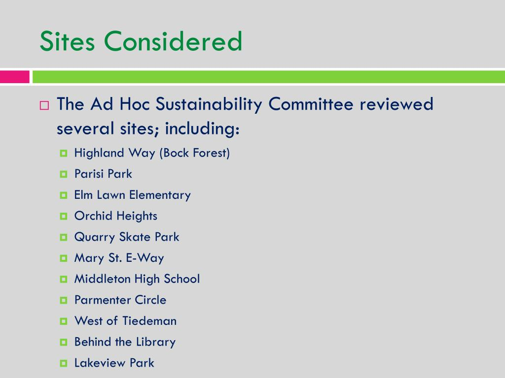Sites Considered
