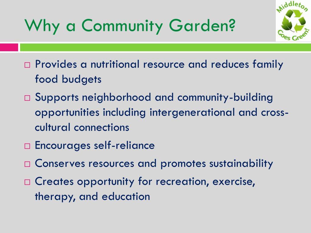 Why a Community Garden?