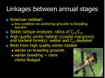 linkages between annual stages