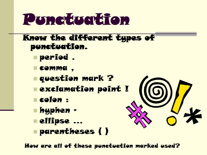 all types of punctuation