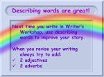 describing words are great