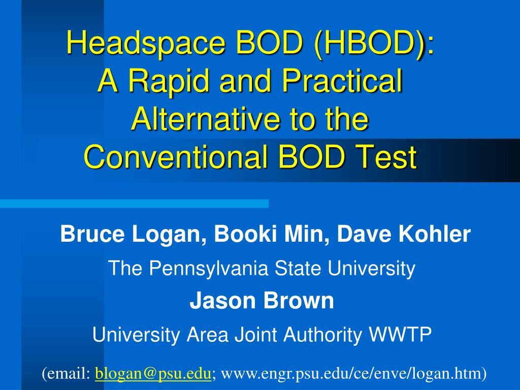 headspace bod hbod a rapid and practical alternative to the conventional bod test l.