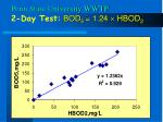 penn state university wwtp 2 day test bod 5 1 24 hbod 2
