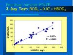 penn state university wwtp 3 day test bod 5 0 97 hbod 3