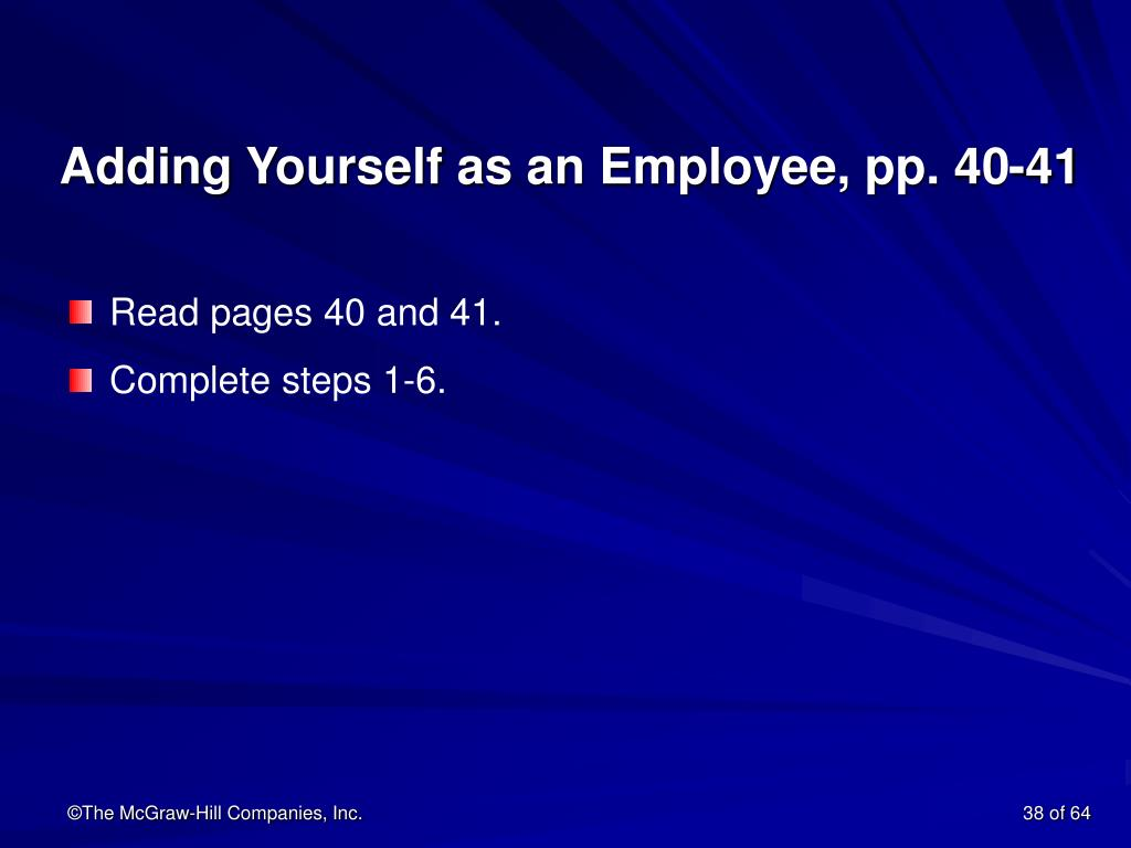Adding Yourself as an Employee, pp. 40-41