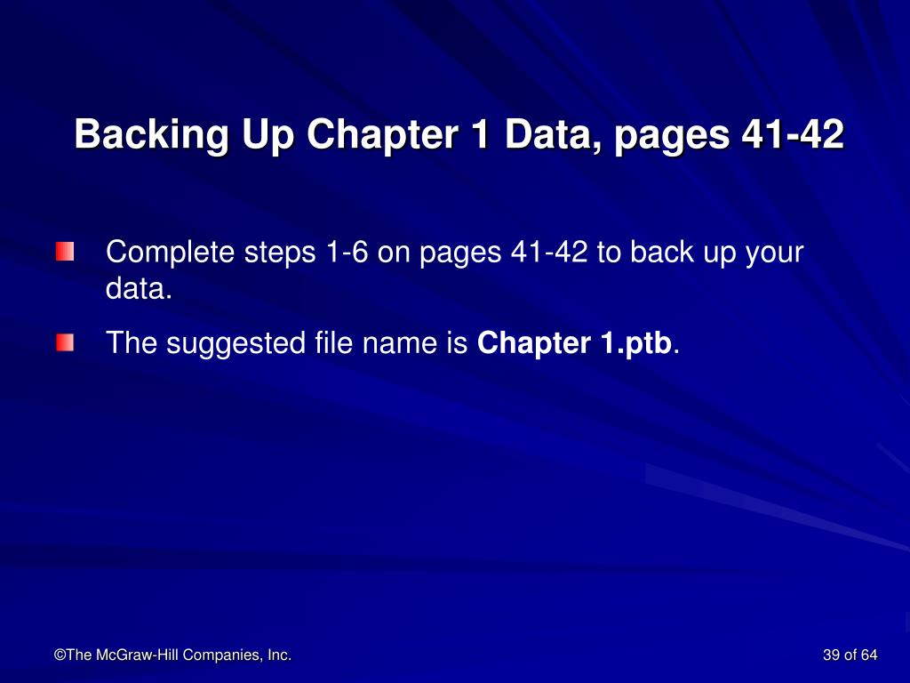 Backing Up Chapter 1 Data, pages 41-42