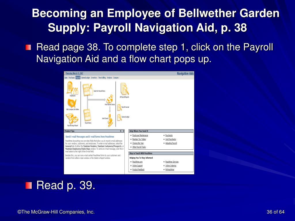 Becoming an Employee of Bellwether Garden Supply: Payroll Navigation Aid, p. 38