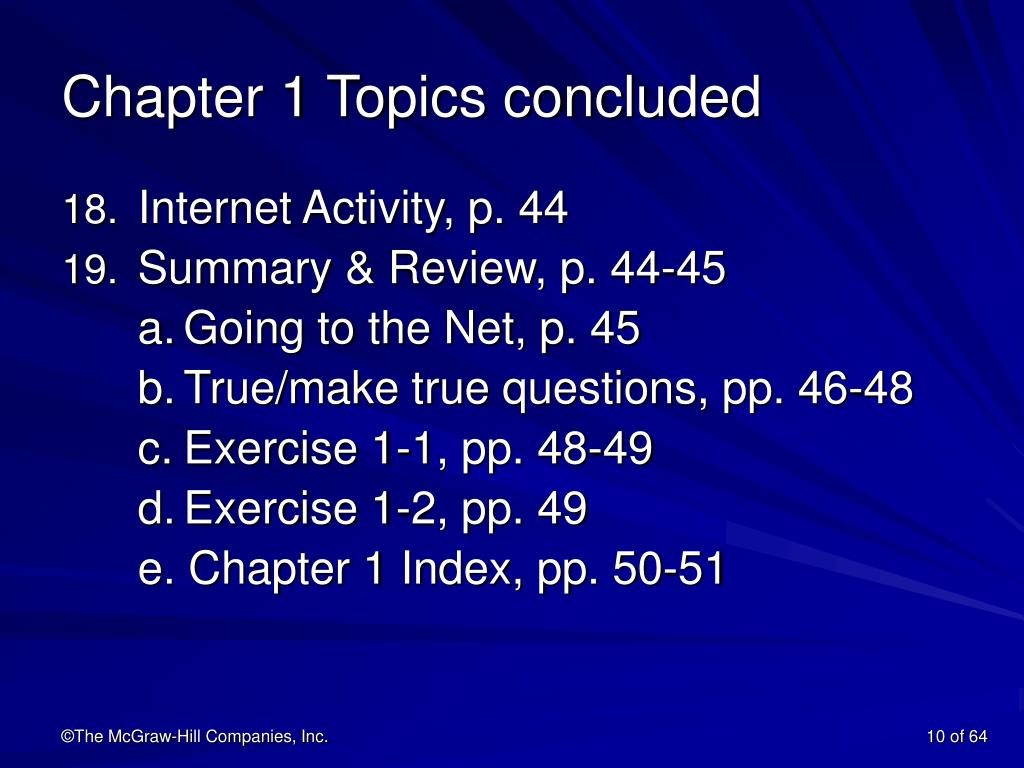 Chapter 1 Topics concluded