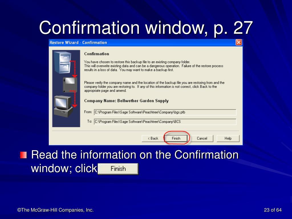 Confirmation window, p. 27
