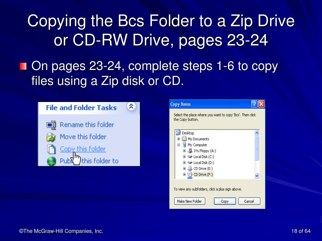 Copying the Bcs Folder to a Zip Drive or CD-RW Drive, pages 23-24