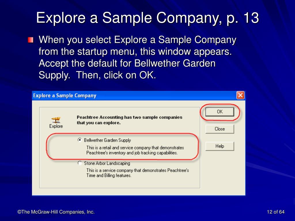 Explore a Sample Company, p. 13