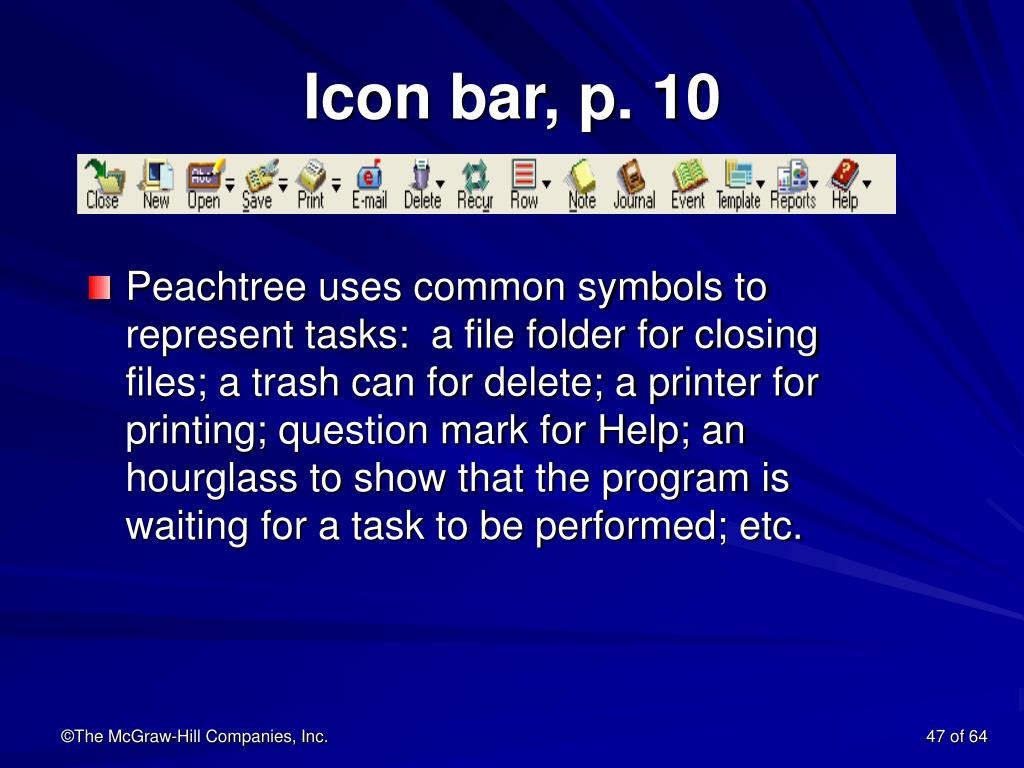 Icon bar, p. 10