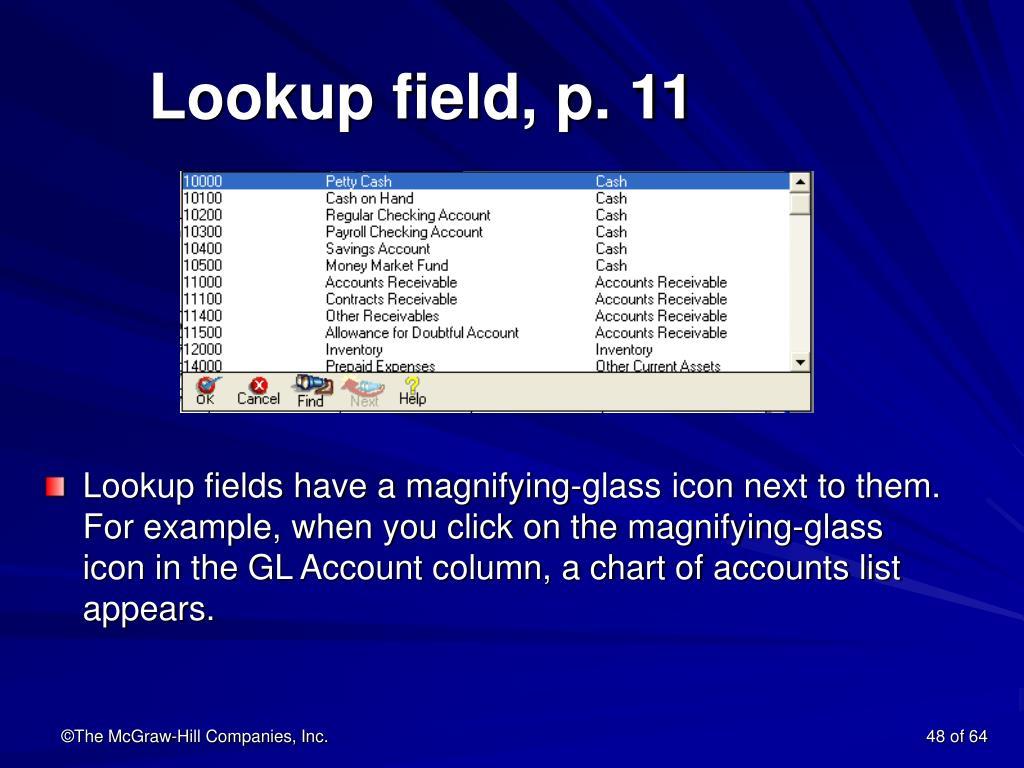 Lookup field, p. 11