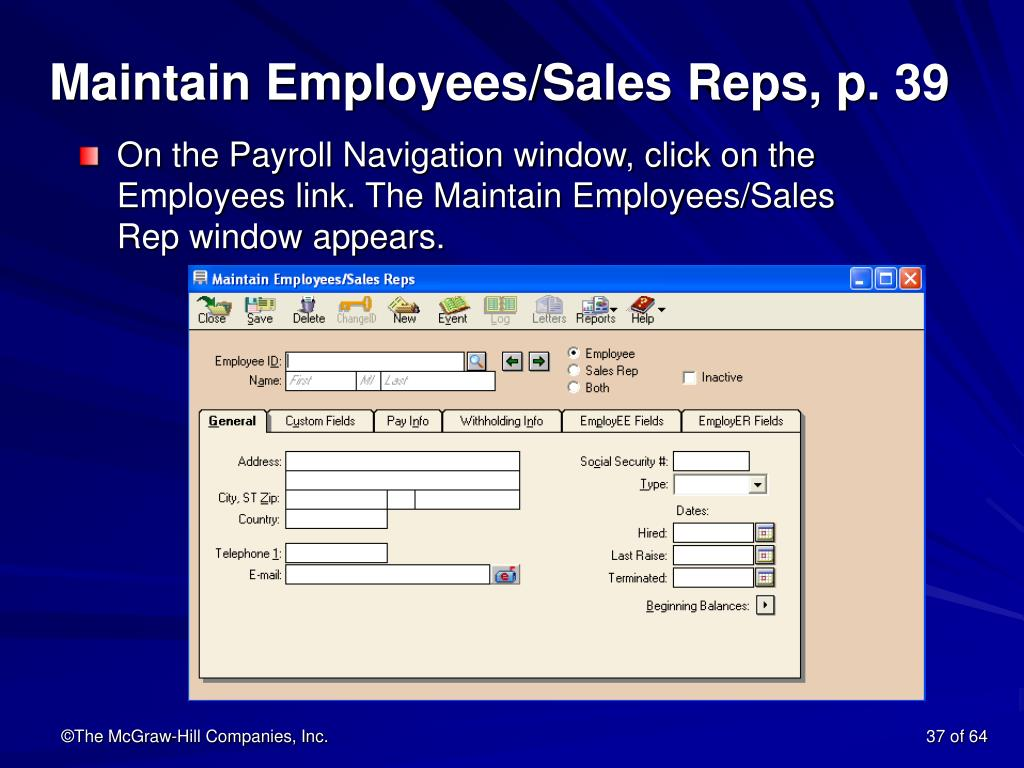 Maintain Employees/Sales Reps, p. 39