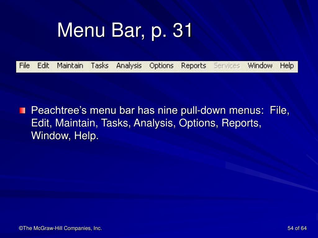 Menu Bar, p. 31