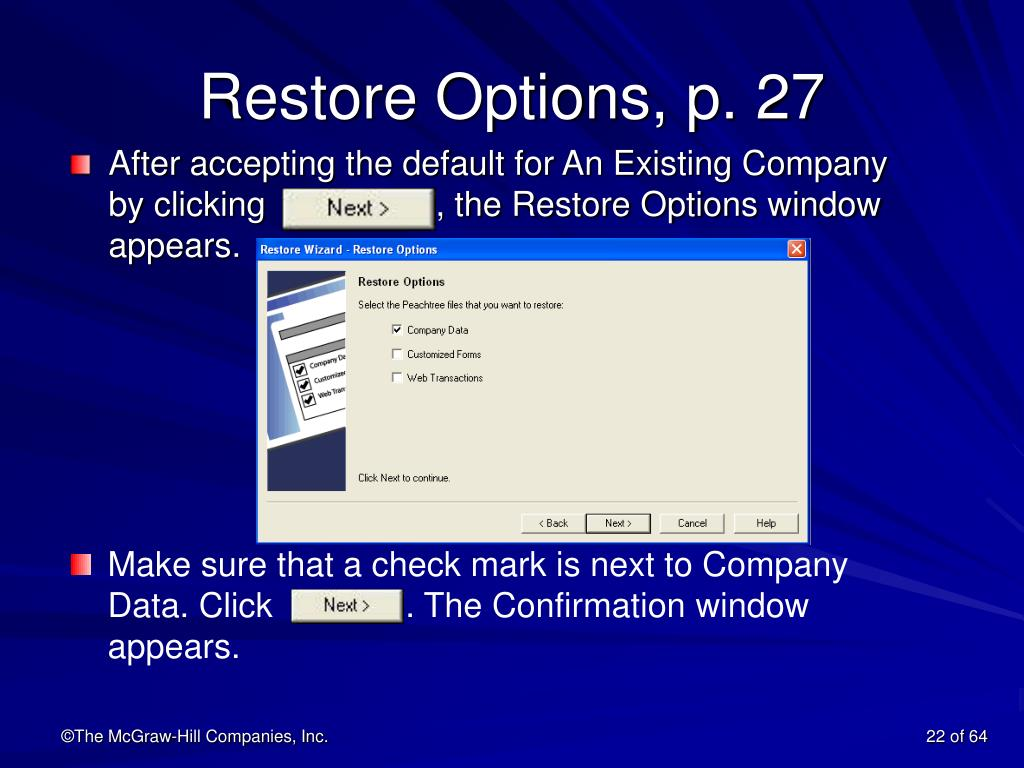 Restore Options, p. 27