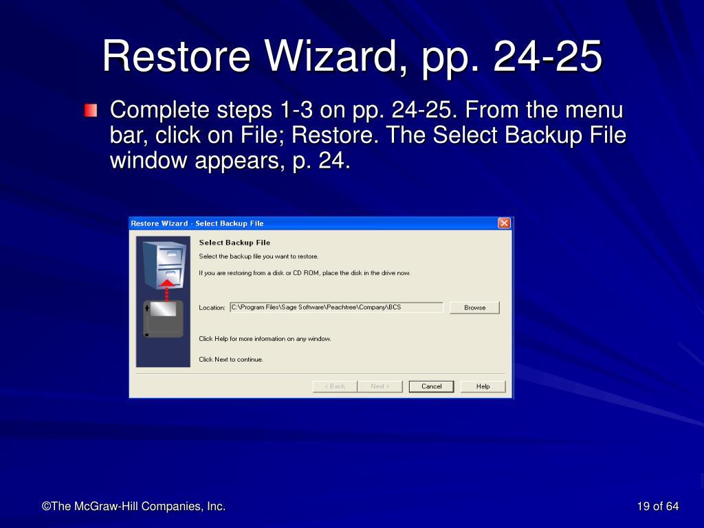 Restore Wizard, pp. 24-25