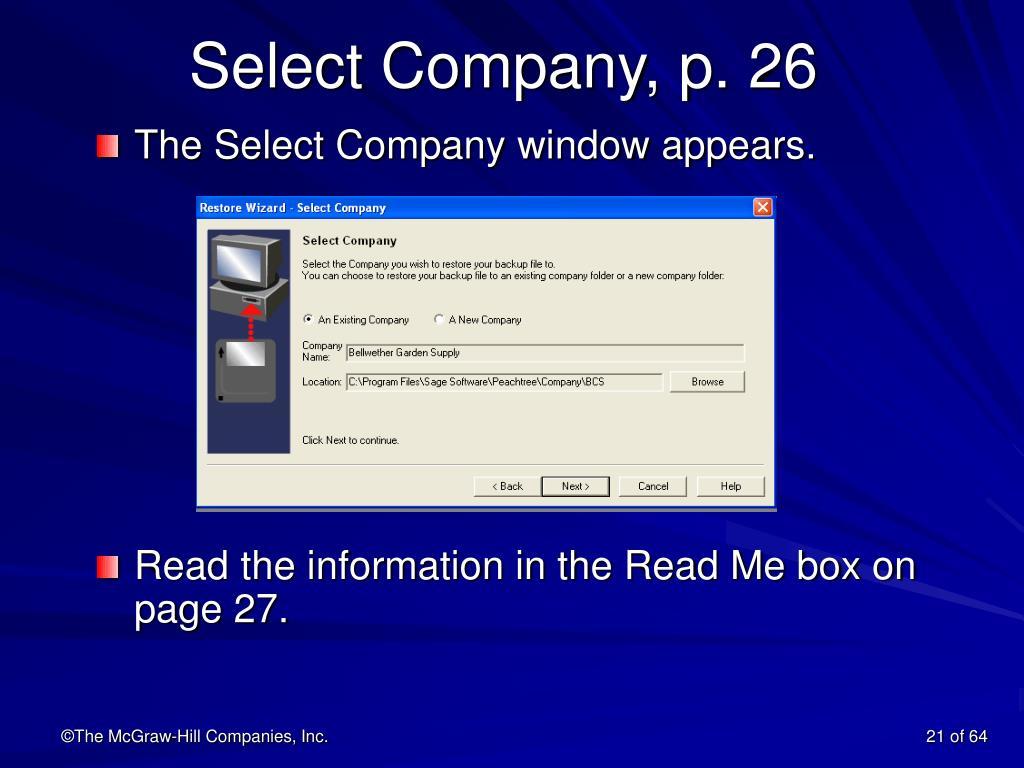 Select Company, p. 26