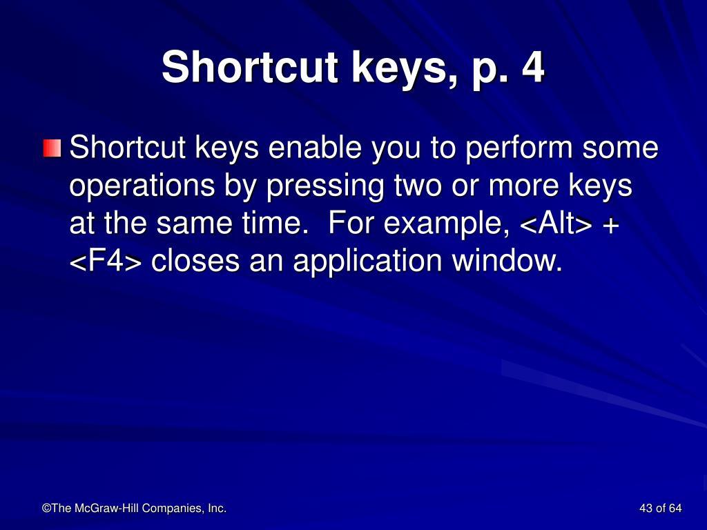 Shortcut keys, p. 4