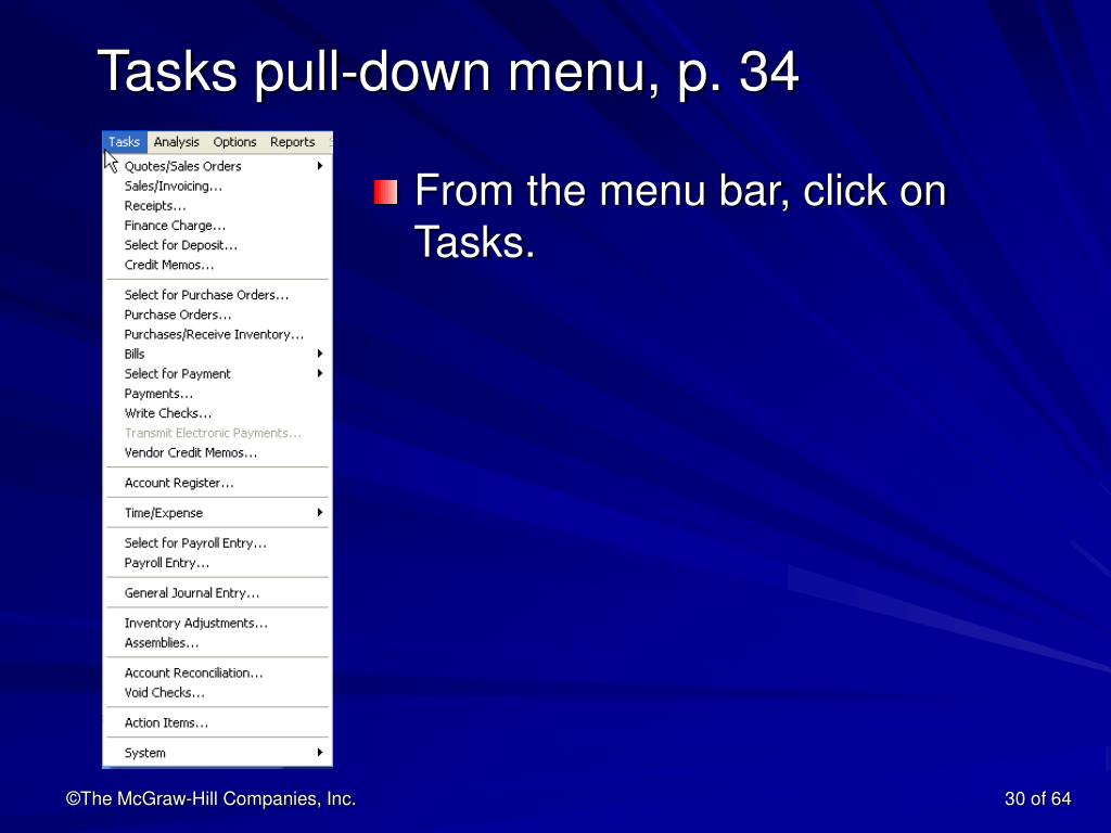 Tasks pull-down menu, p. 34