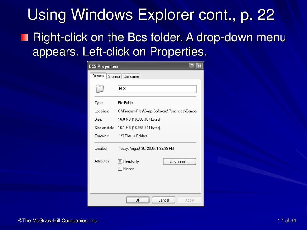 Using Windows Explorer cont., p. 22