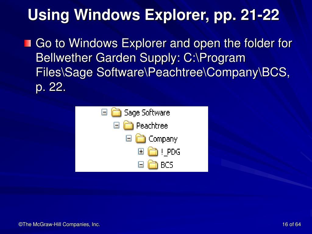 Using Windows Explorer, pp. 21-22