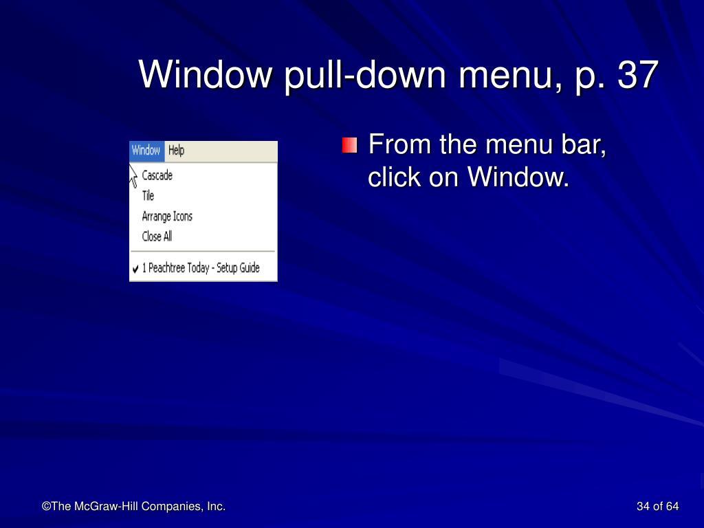 Window pull-down menu, p. 37
