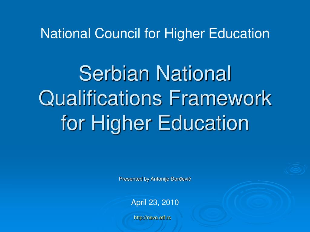serbian national qualifications framework for higher education l.