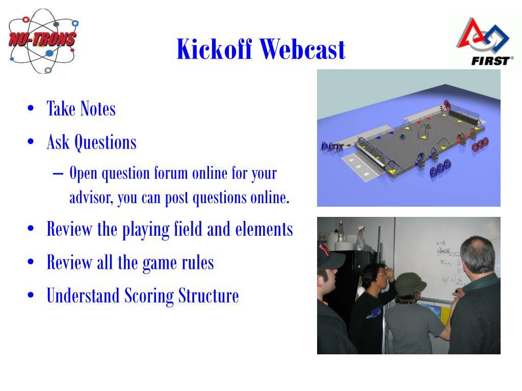 Kickoff Webcast