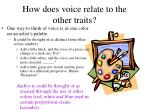 how does voice relate to the other traits