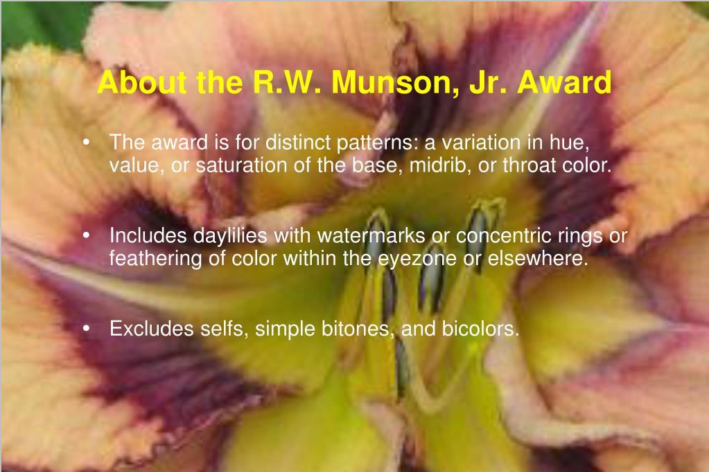 About the R.W. Munson, Jr. Award