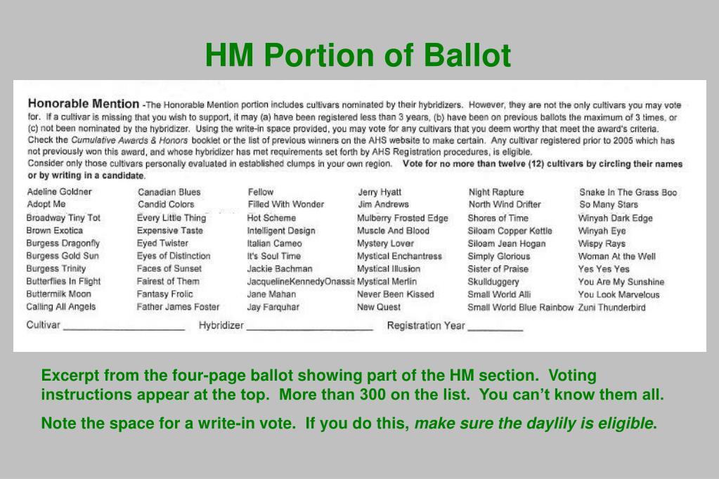 HM Portion of Ballot