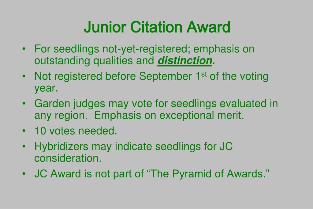 Junior Citation Award