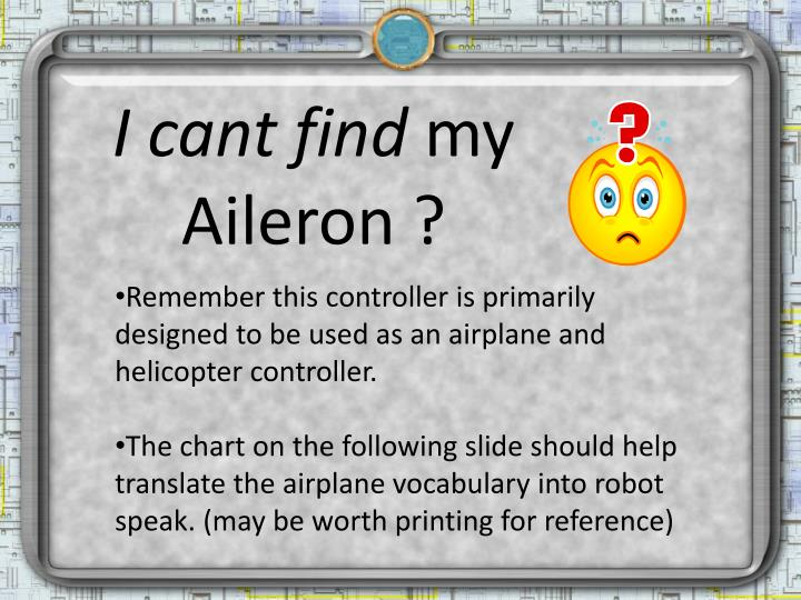 I cant find my aileron