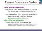 previous experimental studies