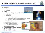 csm research control oriented view