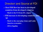 direction and source of fdi