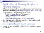 application of planning graphs to forward planning