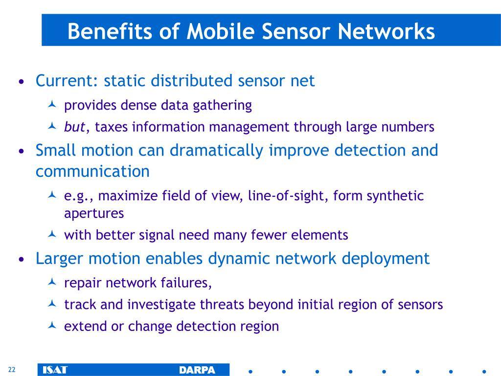 Benefits of Mobile Sensor Networks