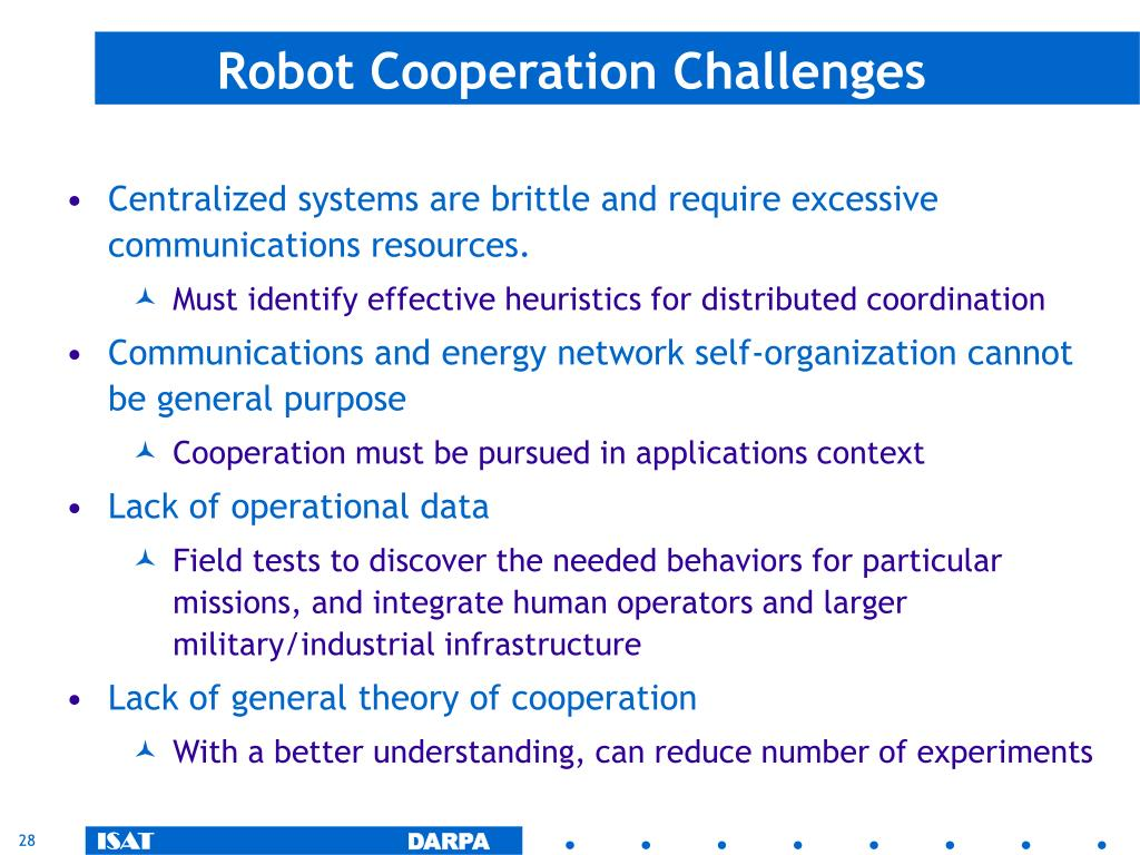Robot Cooperation Challenges