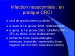 infection nosocomiale en pratique crci