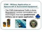 itar military application or spacecraft associated equipment