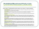 prohibited restricted party lists http www bis doc gov complianceandenforcement liststocheck htm