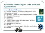 sensitive technologies with dual use applications